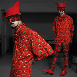 Andre Judd - Tomato Print Button Down Shirt, Resin Neckpieces, Herbert Custodio Wool Felt Couture Hat, Abstract Print Jeans, Abstract Print Gloves, Abstract Print Mask, Red Monkstraps - RED HOT TOMATOES
