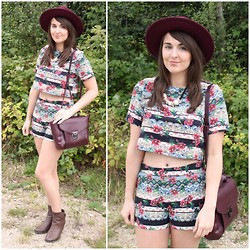 Gabby P. - Bank Fashion Floral Stripe Co Ord Shorts, Bank Fashion Floral Stripes Co Ord Top, Primark Purple Bag, River Island Purple Fedora Hat, Boohoo Brown Boots - Forrest Florals