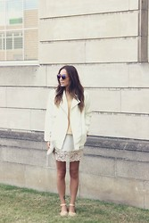 Vee Vee - Glamorous Uk Cream Biker Jacket, Topshop Lace Slip Dress, Topshop Teddy Bear Wool Jumper, &Other Stories Blue Mirrored Sunglasses, Zara Pointed Nude Flats, Zara Pearl Clutch - Sleep walking