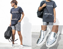 Judas Lee - Acne Studios Spectacular Sensation Tshirt, Greats Nick Wooster X Wooster Kicks Slip On Sneakers, Monki Leather Backpack - SPECTACULAR SENSATION