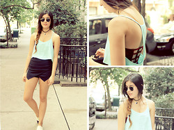 Ashley Overbeek - Ray Ban Sunnies, Romwe Shorts, Chanel Shoes, Etsy Choker - 77th and Madison
