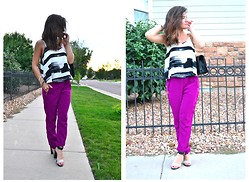 Carolina Hellal - Nordstrom Flowy Crop Top, Zara Purple Harem Pants, Chinese Laundry Strap Sandals, Zac Posen Gold Chain Bag - PURPLE