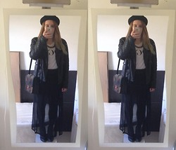Kimberley Sacré - H&M Hat, Springfield Black Leather Jacket, & Other Stories Transparent Handbag, Homemade Transparent Maxiskirt, Vogue T Shirt, New Look Black Cut Out Ankle Boots - Black is such a happy colour