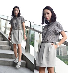 Faith Png - Global Work Gingham Shirt, Cos Cocoon Skirt, Converse Low Cut Sneakers - Gingham