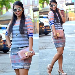 ACT Style - Calvin Klein Top, Forever 21 Skirt, Louis Vuitton Clutch - Peach Perfect