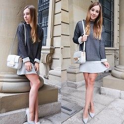 Clean Couture Lu - Zara Pullover, H&M Skirt, H&M Bag, Bufallo Shoes - Grey tones