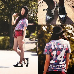 Alessandra Kamaile - Nowhere Tshirt, Gypsy Warrior Shorts, Frontrowshop Oxford Style Flats, H&M Hat - Deadsouls x Nowhere