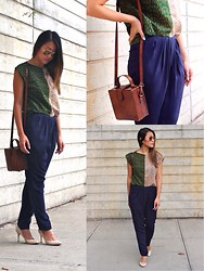 Sabrina P. - Top, Pants, Bag - Prints & Pleats