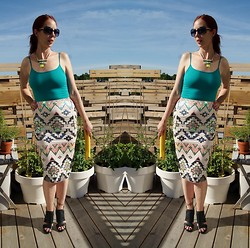 Melanie. Ps - Shop For Jayu Necklace, Forever 21 Tank Top, Express Skirt, Forever 21 Booties - Aztec Embellishment!