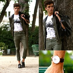 "Matthias C. - Ticolas Graphic T Shirt, Derby Shoes, Asos Khaki Skinny Jeans, Two Tone Khaki Jacket, Aeon Attire Classic Aesthetic Watch - ""Épéios"""