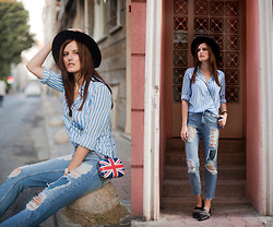 Viktoriya Sener - Light In The Box Shirt, Bag, Zara Fedora Hat, Pull & Bear Jeans, Zara Loafers - UNION JACK