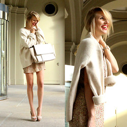 Leonie Hanne - Zara Oversized Knit, Zara Sequin Dress, Zara Nude Heels, Zara Trapeze Bag, Skagen Watch - Knit & Nude