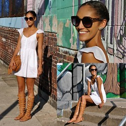 Danielle A - Urban Outfitters Dress, Sam Edelman Sandals, Hype Leather Bag, Urban Outfitters Emma Sunglasses, Kristin Perry Earcuff - Little white dress
