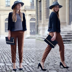 Clean Couture Lu - H&M Hat, Maingold Blouse, H&M Blazer, H&M Pants, Zara Heels - Autumn spirit