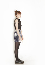 Shaira Luna - Nava Cropped Top, Esprit High Waisted Shorts, Black Tights, Dr. Martens Wingtip Brogues - Owl Eyes