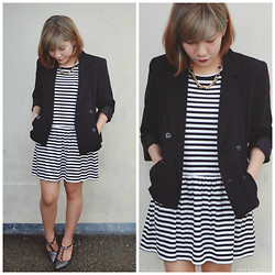 Marion Uy - Jimmy Choo Talan, Black And White Striped Dress, Black Blazer - Black and white