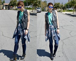 Bethany R. - Faux Leather Moto Vest, Jaws Muscle Tank, Cotton On Flannel, American Eagle Hi Rise Jeggings, Dr. Martens Eloise - Restless. Reckless.