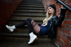 Hayley Evans - Jawbreaking Beanie, Romwe Spiked Headband, John & Jenn Vegan Leather Jacket, Flavour Tee, Harlett Garter, Dr. Martens White Patent Doc - City Streets and Coastal Skies