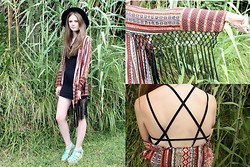 Nadia H - Missguided Paisley Fringed Kimono, Asos Cage Back Black Dress, River Island Felt Fedora Hat - Fringe Wings