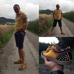 Nikolaus H - Camp David Polo, Tommy Hilfiger Blue Shorts, Zara Yellow Spiked Sneakers - Sneakers with spikes!