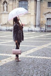 Jelka Lepever - Clouds Of Fashion Umbrella, Alice Temperley Leather Jacket, Clouds Of Fashion Faux Fur, H&M Black Jeans, Clouds Of Fashion Pink Purse, H&M Pink Heels - Under my umbrella