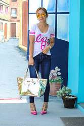 Coke Young-Go - Ray Ban Aviator Flashlens, Jag Blue Jeans, Michael Kors Wrist Watch, T Shirt, Kate Spade Tote - All We Need Is Love