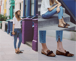 Sonya Esman - S E N O Leopard Flats, Objects Without Meaning Boyfriend Jeans, Reiss Hat, Chanel Bag - Peace.