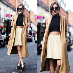 Anouska Proetta Brandon - Suede Skirt, Vintage Coat, Asos Crop Top, Minkpink Sunglasses - Ready for fall.