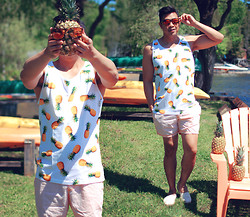 ALLEN M - For Outfit Details & More Photos, Visit My Blog, Forever 21 Pineapple Tank - PINEAPPLE // IG: @iamALLENation