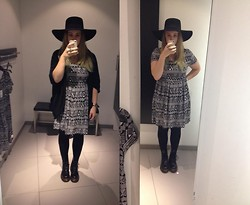 Kimberley Sacré - H&M Aztec Print Dress, H&M Black Hat, Zara Oversized Cardigan, Dr. Martens Black - AHS inspired
