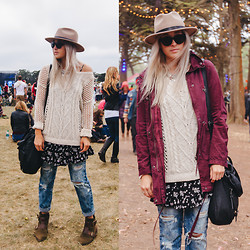 Bryn Newman (Stone Fox Style) - Brixton Wide Brim Hat, Garage Clothing Sweater, Garage Ditsy Floral Dress, Acid Reign Distressed Wash Jeans, Kelsi Dagger Brooklyn Boots, Garage Clothing Maroon Parka Jacket - Outside Lands Day Three