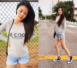 Josephine Ellen - Mango Top, Express Shorts, Converse Sneakers - Laidback at Dusk