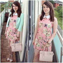 Gabby P. - New Look Newloook Cropped Mint Blazer, Miss Selfridge Pink Bag - Bank Fashion Bargain