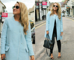 Monica B. - Zara Baby Blue Coat, River Island Faux Leather Trousers, New Look Strappy Heels, Prada Tote Bag, Ray Ban Silver Metal Aviators, Topshop Strappy Cami - Feeling Blue, Baby Blue