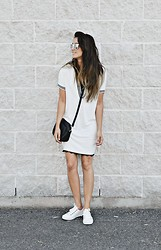 Lena Antonacci - Oasap Stripe Collar Shift Dress, Oasap White Sneakers - Match point
