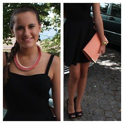 G C - Black Dress, Pink Clutch, Gold Watch, Black Heels, Pink Necklace - Little black dress
