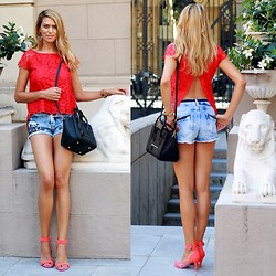 Vanessa Basanta - Suite Blanco Red Lace Blouse, Green Coast Denim Shorts, Bershka Pink Sandals - Red Lace & The Lion