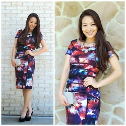 Kimberly Kong - Nicole Miller Midi Dress, Karmisa Necklace, Lily Rain Clutch, Candie's Shoes - The Printed Midi Dress