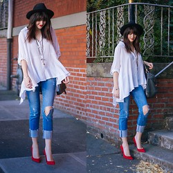 Kacie Cone - Chic Wish Cool Touch Asymmetric Blouse, Jeffrey Campbell Dulce Heels - It's Personal