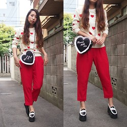 Yu Kuwabara - Kaon Heart Pattern Knitted Top, G.V.G.V. Chiffon Pants, G.V.G.V. Heart Bag, J.W.Anderson Platform Moccasins - So Many Hearts
