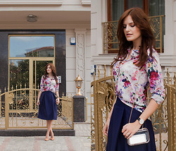 Viktoriya Sener - Romwe Blouse, Romwe Midi Skirt, Zara Pumps, Daniel Wellington Watch, Clutch - BREATH OF FALL