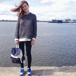 Marina Ivanova - Cos Grey Sweater, Velotton Lovely Backpack, Nike Ideal Sneakers, Mango Skinny - Good day!