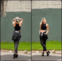 Lauren J - Garage Black Crop Top, H&M Aloha Snap Back, Cotton On Leather Pants, Aldo Black Wedges - Adidas