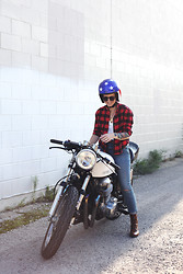Jessie Barber - Daytona Helmets Helmet, Urban Outfitters Buffalo Check Flannel, Free People White Pocket Tee, Miriam Designs Moonbeam Necklace, Madewell High Rise Skinny Skinny, The Frye Company Courtney Lace Up Boots - The Scenic Route