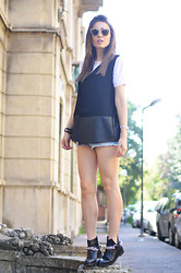 Melissa Cabrini - Zara Waistcoat, Zara Booties, Prada Bracelet - Denim shorts and booties