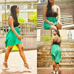 Janae Bryson - Michael Antonio White Barely There Sandals, Xhilartion Kelly Green Hi Low Skirt, Forever 21 Not So Basic Basic - Walking With Envy