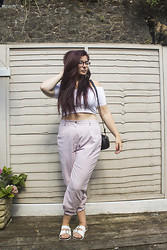 Olivia Lynn - Topshop White Bardot Crop, Pink Gingham Trousers, Primark Cross Body Bag, Primark White Buckle Sliders - My Favourite Trousers