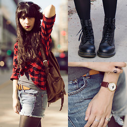 Camila C - H&M Flannel, Dr. Martens Boots, Topshop Backpack, Thrifted Belt, Bdg Destroyed Denim Shorts, Vintage Watch And Rings - Drifters of a western breeze