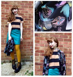 Emily May - Urban Outfitters Striped Crop Tee, Cow Vintage Turquoise Leather Skirt, Cow Vintage Chalk Pattern Shirt, New Look Mustard Tights, Vagabond 90s Leather Boots - Chalk Shirt Leather Skirt