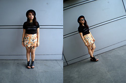 Jia Achacruz - Crop Top, Floral Skirt, Stella Mccartney Platforms, H&M Choker, Forever 21 Hat - Style shouldn`t be a chore